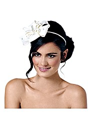 Jon Richard Cream Satin Bow Fascinator