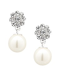 Jon Richard Daisy Top Pearl Drop Earring