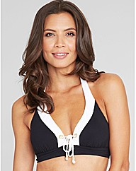 Monochrome Eyelet Soft Cup Halter Top