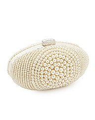 Jon Richard Cream Pearl Oval Clutch Bag