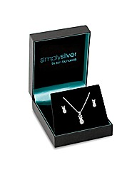 Simply Silver Bow Necklace And Earring