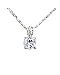Rhodium Plated Crystal Solitaire Pendant