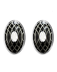 Gents Oval Black and White Cufflinks