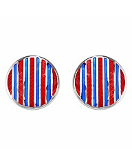 Gents Red and Blue Striped Cufflinks