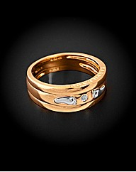 9ct YG Footprints Triple Ring