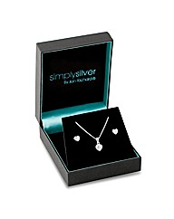 Simply Silver Cubic Zirconia Heart Set
