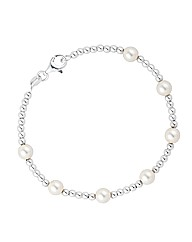 Simply Silver Ball And Pearl Bracelet