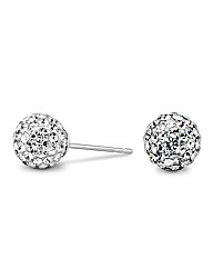 Simply Silver Pave Crystal Ball Earring