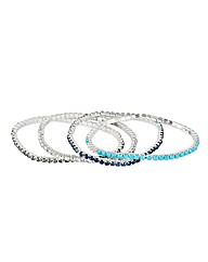 Mood Multicoloured Diamante Bracelet Set