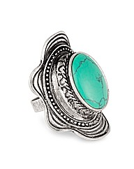 Mood Blue Stone Encased Adjustable Ring
