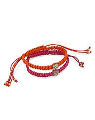Mood Pink And Orange Corded Bracelets