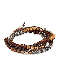 Mood Multi Bead Cord Wrap Bracelet