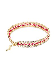 Mood Crystal Pink Thread Wrap Bracelet