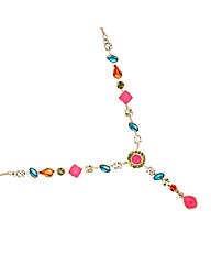 Mood Bright Mixed Bead Y Drop Necklace