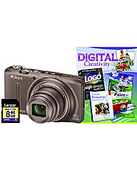 Nikon Coolpix S9500 3D Bronze Camera Kit