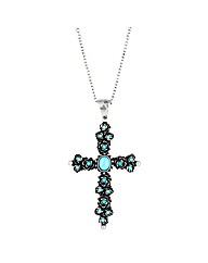 Mood Turquoise Cross Pendant Necklace