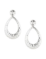 Mood Large Hammered Silver Drop Earring
