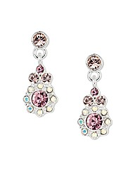 Jon Richard Pink Crystal Flower Earring
