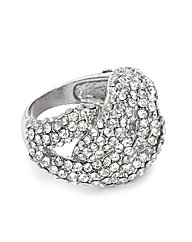 Jon Richard Crystal Silver Knot Ring