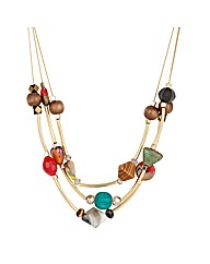 Mood Bead And Gold Tubular Row Necklace
