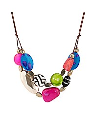 Mood Beaded Multi Row Corded Necklace