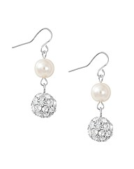 Jon Richard Pearl Crystal Ball Earring