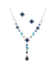 Mood Blue Stone Drop Necklace And Stud