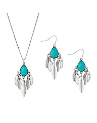 Mood Blue Charm Drop Pendant And Earring