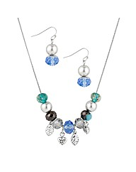 Mood Blue Stacker Necklace And Earring
