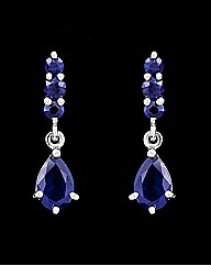 9ct White Gold Blue Sapphire Earrings