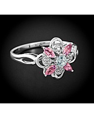9ct WG Stone Set Flower Ring