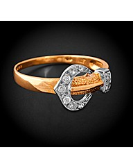 9ct Gold Cubic Zirconia Buckle Ring