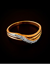 9ct Yellow Gold Diamond Wave Ring
