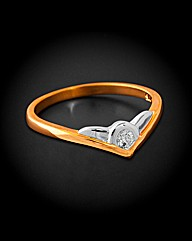 9ct YG Single Diamond Wishbone Ring