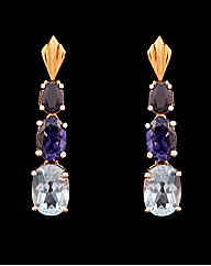 9ct YG Blue Multi Stone Drop Earrings