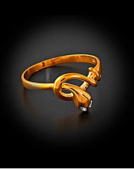9ct  Yellow Gold Diamond Set Snake Ring