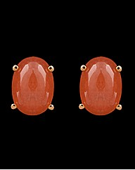 9ct YG Cherry Quartz Stud Earrings