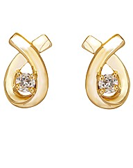 Gold Plated Solitaire Crossover Earrings