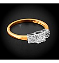 Gold Plated 0.15ct Diamond Trilogy Ring
