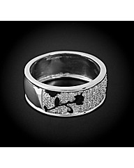 Chunky Silver Diamond Set Band Ring