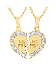 Gold Plated Best Friend Split Pendant