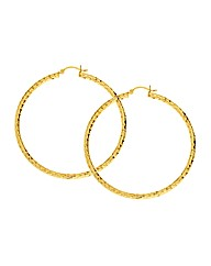 Gold Plated Round Diamond-Cut Hoops