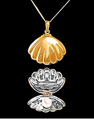 GPS Pearl and Diamond Set Clam Pendant