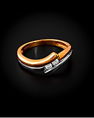 9ct Two Tone Diamond Ring
