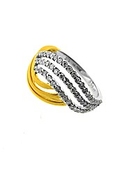 9ct Two Tone 0.50ct Diamond Wave Ring