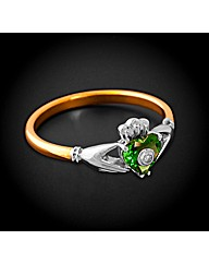 Rolled Gold Ladies CZ Claddagh Ring