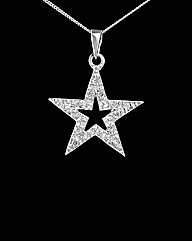 9ct White Gold Diamond Set Star Pendant