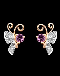 Gold Plated Diamond Butterfly Earrings