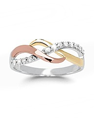 9ct Entwined Three Colour Diamond Ring