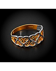9ct YG Artwork Hearts Ring